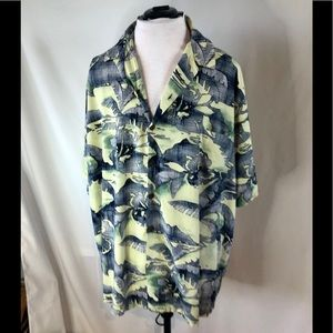 Hilo Hattie  Hawaiian Aloha Shirt Green  Palms 4XL